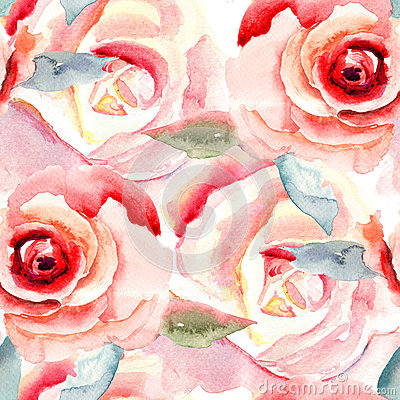 Free Watercolor Painting With Rose Flowers Stock Images - 33934114
