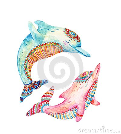 Free Watercolor Pair Of Lovely Dolphins Isolated On White Background. Stock Photo - 111956750