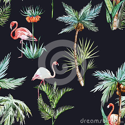 Free Watercolor Palm Pattern Royalty Free Stock Images - 54574879