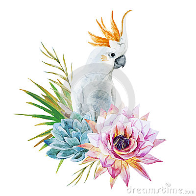 Free Watercolor Parrot With Flowers Royalty Free Stock Photo - 53412885