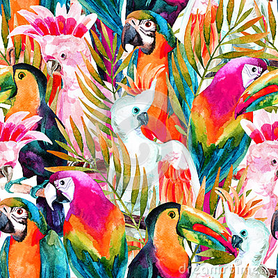 Free Watercolor Parrots Seamless Pattern Royalty Free Stock Images - 61890069