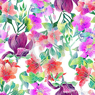 Free Watercolor Pattern Of Exotic Flowers Royalty Free Stock Photos - 36151468