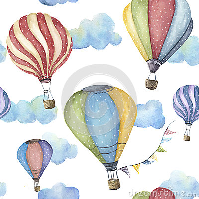 Free Watercolor Pattern With Cartoon Hot Air Balloon. Transport Ornament With Flag Garlands And Clouds Isolated On White Royalty Free Stock Photos - 87541408