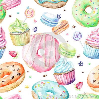 Free Watercolor Pattern With Macarons, Cupcakes, Donuts Stock Image - 57610711