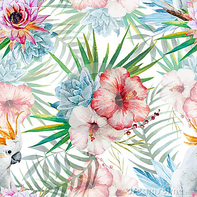 Free Watercolor Pattern With Parrot And Flowers Stock Images - 53412904