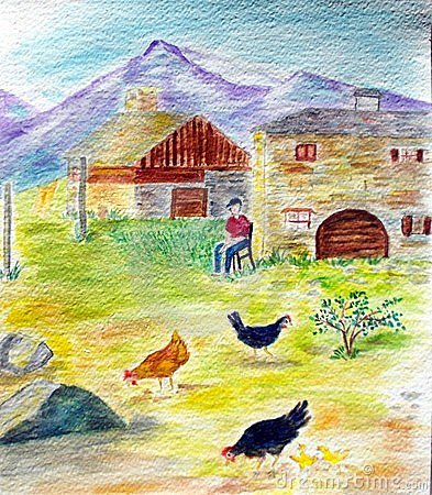 Watercolor : Peaceful life on the mountain