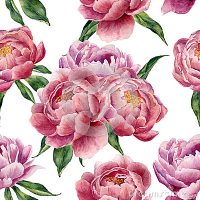 Free Watercolor Peonies And Leaves Seamless Pattern On White Background. Floral Texture For Design, Textile And Background. Royalty Free Stock Photo - 72881695