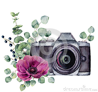 Watercolor photo label with anemone flower and eucalyptus. Hand drawn photo camera with floral design isolated on white Stock Photo