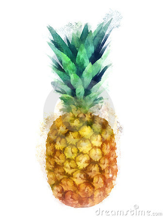 Free Watercolor Pineapple Stock Images - 15300474