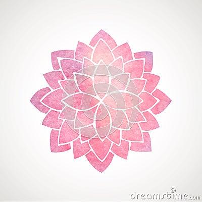 Free Watercolor Pink Flower Pattern. Silhouette Of Lotus. Mandala Royalty Free Stock Image - 56296756