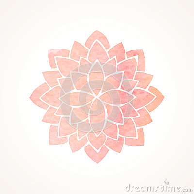 Free Watercolor Pink Flower Pattern. Silhouette Of Lotus. Mandala Stock Photography - 56298422