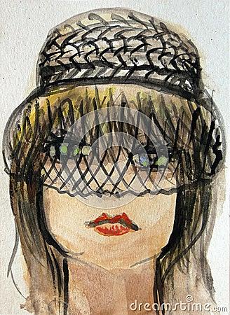 Watercolor Portrait of a Beautiful Woman