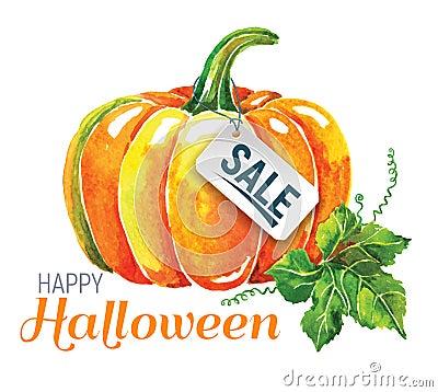 Free Watercolor Pumpkin. Happy Halloween Composition. Royalty Free Stock Image - 98148236