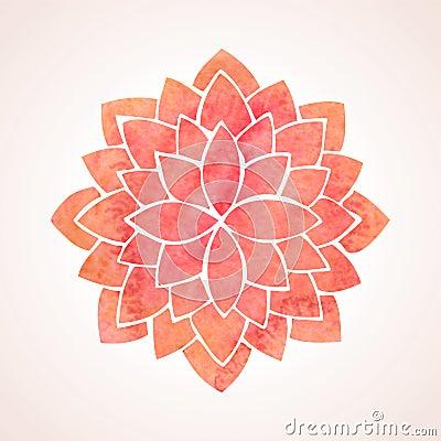 Free Watercolor Red Flower Pattern. Mandala Royalty Free Stock Image - 53743296