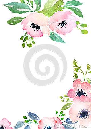 Strange Watercolor Roses Card Template Stock Illustration Image Funny Birthday Cards Online Drosicarndamsfinfo