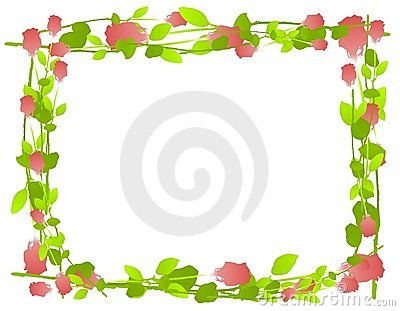 Watercolor Roses Frame Border
