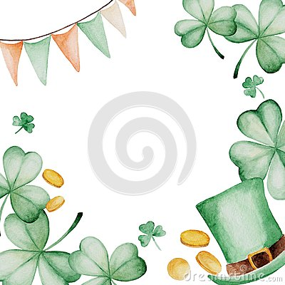 Free Watercolor Saint Patrick`s Day Frame. Clover Ornament. For Design, Print Or Background Stock Photography - 104673022