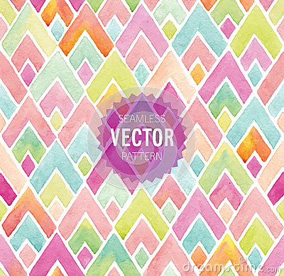 Free Watercolor Seamless Geometric Pattern. Stock Images - 53265584