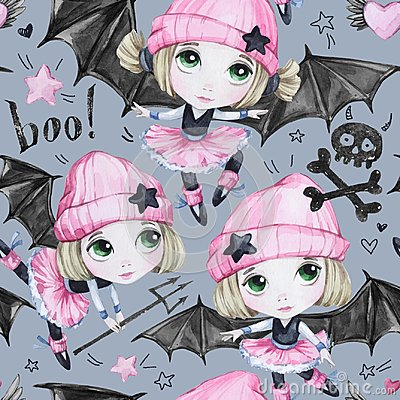 Free Watercolor Seamless Pattern. Ballet Girls With Bat Wings And Skulls. Dancing Little Witches. Teenager. Halloween Horror Stock Photo - 99974830