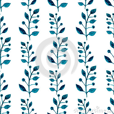 Free Watercolor Seamless Pattern. Floral Vector Hand Paint Background. Blue Twigs, Leaves, Foliage On White Background. For Fabric, Wal Royalty Free Stock Photography - 53937597