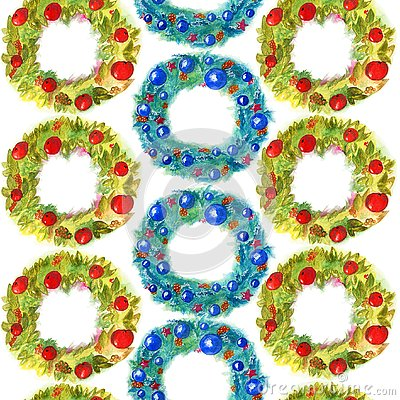 Watercolor seamless pattern hand drawn christmas wreath with decor isolated on white background Stock Photo