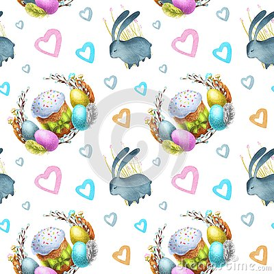 Watercolor seamless pattern holiday Happy Easter. Stock Photo