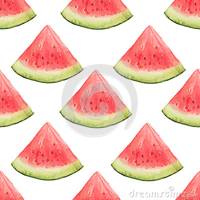 Free Watercolor Seamless Pattern Of Watermelon Slices. Stock Photo - 70182130
