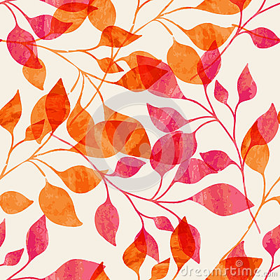 Watercolor seamless pattern with pink and orange autumn leaves. Vector nature background. Vector Illustration