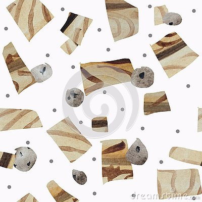 Seamless pattern of textural geometric shapes imitating wood and stones on a white background. Stock Photo