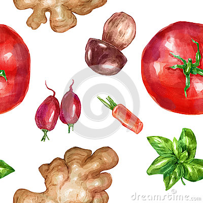 Watercolor seamless, pattern vegetables set with mint white mushroom tomato ginger Cartoon Illustration