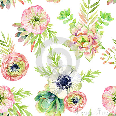 Free Watercolor Seamless Pattern With Anemone And Herbs Royalty Free Stock Photos - 60841648