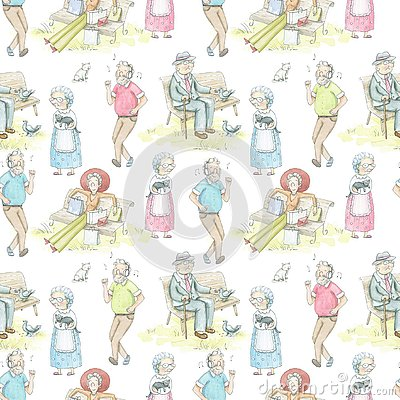 Free Watercolor Seamless Pattern With Cartoon Elderly People Royalty Free Stock Image - 133365066