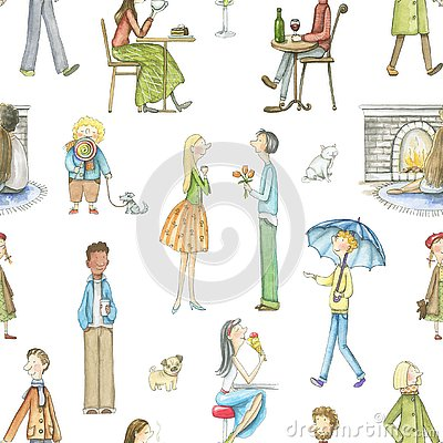 Free Watercolor Seamless Pattern With Cartoon People Stock Photography - 133365522