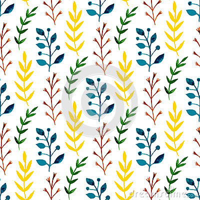 Free Watercolor Seamless Pattern With Colorful Leaves And Branches. Hand Paint Vector Seasonal Background. Can Be Used For Wrapping, Te Stock Image - 54707901