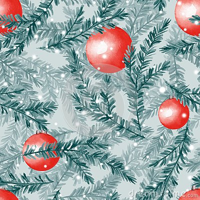 Free Watercolor Seamless Pattern With Fir Tree Branches Stock Photos - 129975193
