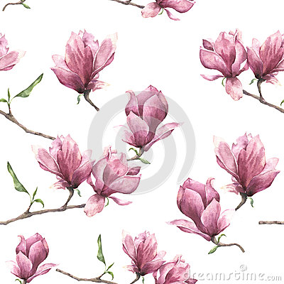 Free Watercolor Seamless Pattern With Magnolia. Hand Painted Floral Ornament Isolated On White Background. Pink Flower For Royalty Free Stock Photography - 84023287