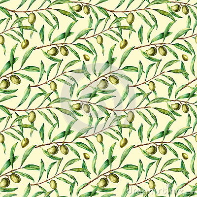 Free Watercolor Seamless Pattern With Olive Branches. Hand Painted Floral Ornament With Olive Berry And Tree Branches With Royalty Free Stock Photography - 90685257