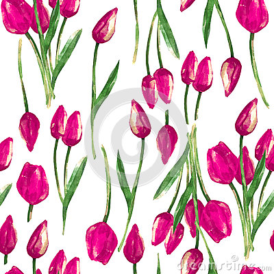 Free Watercolor Seamless Pattern With Painted Pink Tulips Royalty Free Stock Photo - 32344665