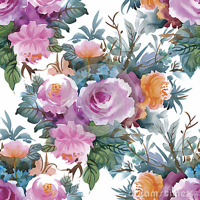 Free Watercolor Seamless Pattern With Roses. Background For Web Pages, Wedding Invitations, Save The Date Cards. Royalty Free Stock Photos - 59796938