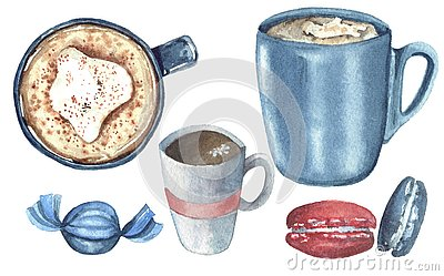 Watercolor set with drink and sweets Cartoon Illustration