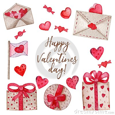 Watercolor set for Valentine`s Day Vector Illustration
