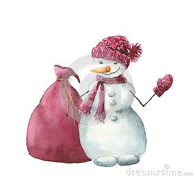 Free Watercolor Snowman With Christmas Gift Bag. Hand Painted Winter Illustration Isolated On White Background. For Design Stock Photography - 78699812