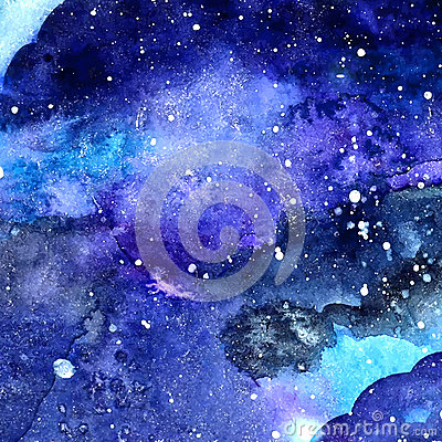 Free Watercolor Space Texture With Glowing Stars. Night Starry Sky With Paint Strokes And Swashes. Vector Illustration. Stock Photo - 48056790
