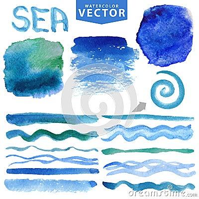 Free Watercolor Splash,brushes,waves.Blue Ocean,sea.Summer Set Royalty Free Stock Photo - 68443445