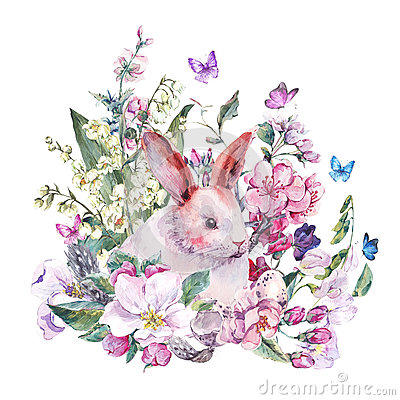 Free Watercolor Spring Greeting Card White Bunny Royalty Free Stock Photos - 67670958