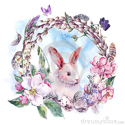 Free Watercolor Spring Happy Easter Wreath Royalty Free Stock Photos - 67670818