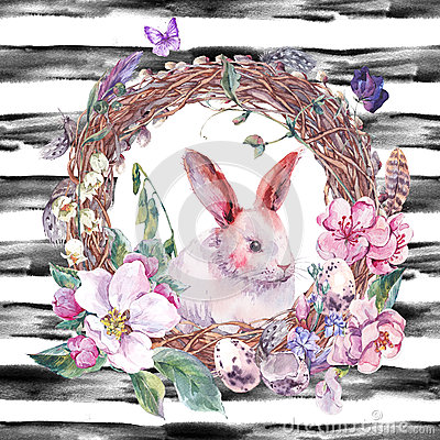 Free Watercolor Spring Happy Easter Wreath Stock Images - 67670864
