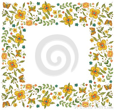 Watercolor square flower frame on white background Stock Photo