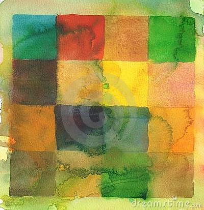 Watercolor squares abstract background