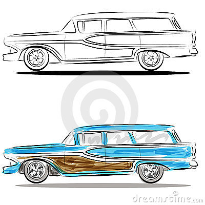 Watercolor Station Wagon Line Art